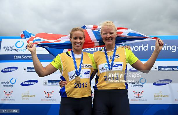 Helen Glover and Polly Swann of Great Britain celebrate winning the Women's Pair final during the third day of the 2013 Samsung World Rowing Cup II...