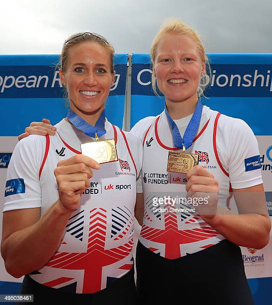 Helen Glover and Polly Swann of Great Britain pose with their medals after the Women's Pair final during day three of the 2014 European Rowing...