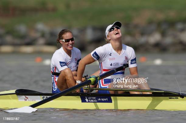 Helen Glover and Polly Swann of Great Britain react after winning the Women's Pair final during day seven of the 2013 World Rowing Championships on...