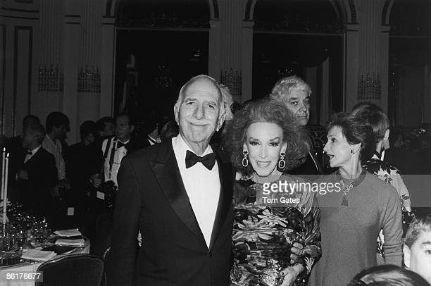Helen Gurley Brown and her husband, film producer David Brown in New York City for the Fashion Group Inc awards, November 1989.