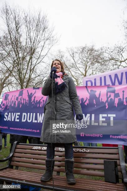 Helen Hayes Labour Member of Parliament for Dulwich West Norwood speaks to fans and supporters of Dulwich Hamlet Football Club during a protest march...