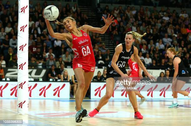 Helen Housby in action for England during the Quad Series Netball Test match between New Zealand Silver Ferns and England Roses on September 15 2018...