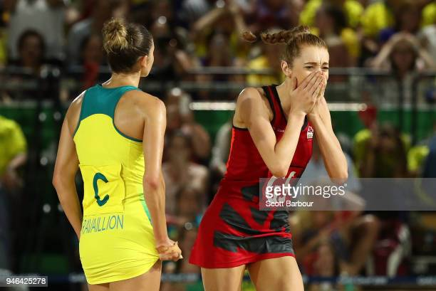 Helen Housby of England celebrates after scoring in the final second and winning the Netball Gold Medal Match between England and Australia on day 11...