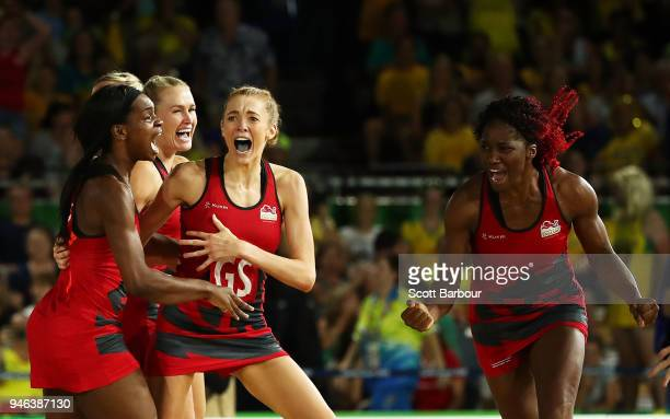 Helen Housby of England celebrates the winning goal during the Netball Gold Medal Match on day 11 of the Gold Coast 2018 Commonwealth Games at...