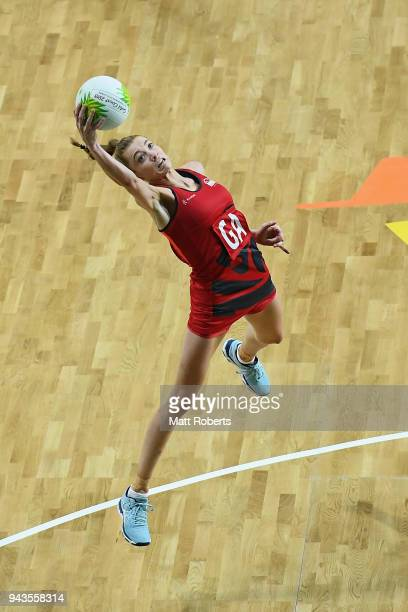 Helen Housby of England competes during to the Netball Preliminary round against Wales on day five of the Gold Coast 2018 Commonwealth Games at Gold...