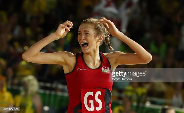 Helen Housby of England reacts after scoring in the final second at full time and winning the Netball Gold Medal Match between England and Australia...