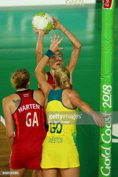Helen Housby of England shoots during the Netball Gold Medal Match on day 11 of the Gold Coast 2018 Commonwealth Games at Coomera Indoor Sports...