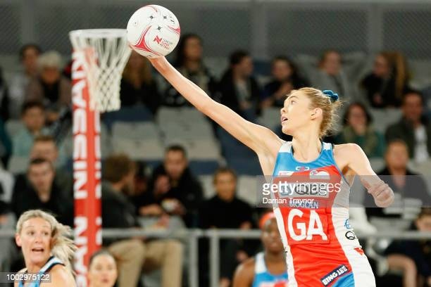 Helen Housby of the Swifts catches the ball during the round 12 Super Netball match between the Magpies and the Swifts at Hisense Arena on July 21...
