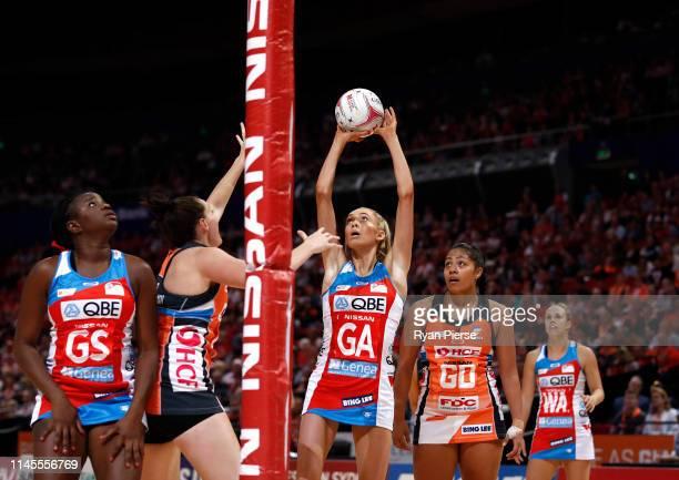Helen Housby of the Swifts shoots during the Round 1 Super Netball match between the Giants Netball and NSW Swifts at Qudos Bank Arena on April 28...