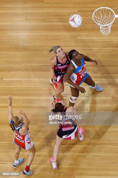 Helen Housby of the Swifts takes a shot at goal during the round six Super Netball match between the Swifts and the Thunderbirds at Quay Centre on...