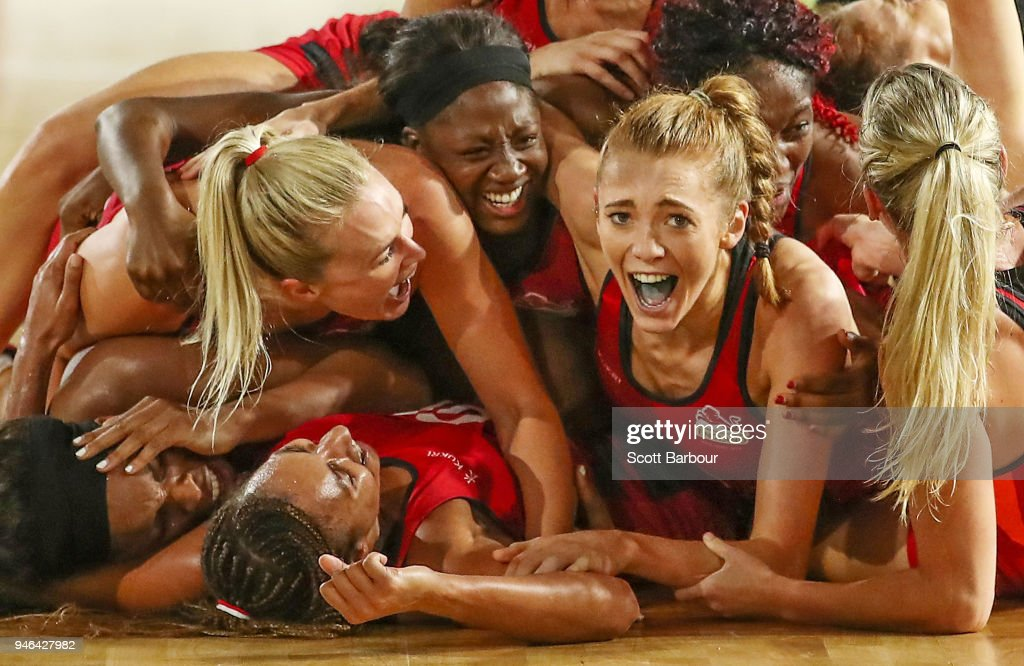 Helen Housby, who scored in the final second and her England teammates celebrate at full time and winning the Netball Gold Medal Match between England and Australia on day 11 of the Gold Coast 2018 Commonwealth Games at Coomera Indoor Sports Centre on April 15, 2018 on the Gold Coast, Australia.