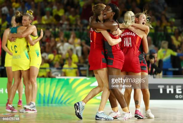 Helen Housby who scored in the final second Jodie Gibson and their England teammates celebrate at full time and winning the Netball Gold Medal Match...
