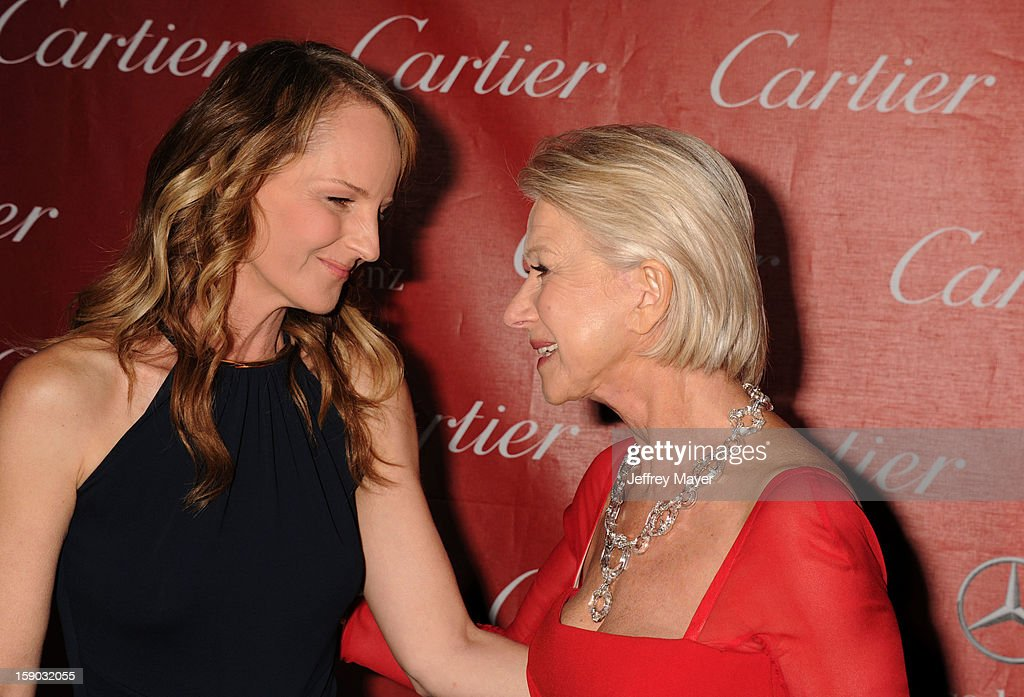 Helen Hunt and Dame Helen Mirren arrive at the 24th Annual Palm Springs International Film Festival - Awards Gala at Palm Springs Convention Center on January 5, 2013 in Palm Springs, California.