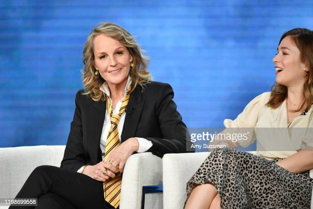 Helen Hunt and Zofia Wichlacz of Masterpiece World on Fire speak during the PBS segment of the 2020 Winter TCA Press Tour at The Langham Huntington...