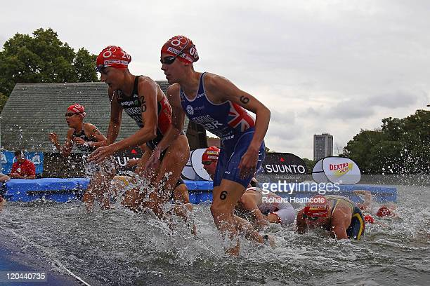 Helen Jenkins of Great Britian emerges from the swim on her way to victory in the Women's Elite race during day one of the Dextro Energy Triathlon...