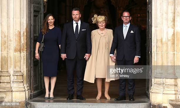 Helen Joyce Wogan with her children Katherine Wogan Alan Wogan and Mark Wogan attend a memorial service for the late Sir Terry Wogan at Westminster...