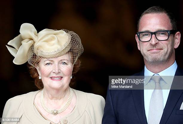 Helen Joyce Wogan with her son Mark attend a memorial service for the late Sir Terry Wogan at Westminster Abbey on September 27 2016 in London England