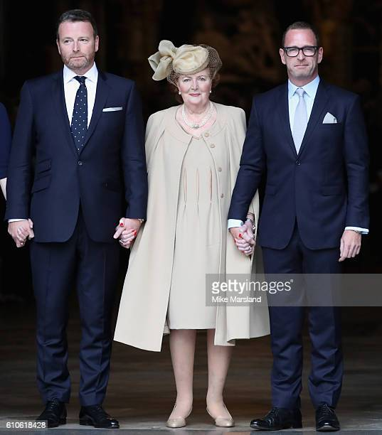 Helen Joyce Wogan with her sons Alan and Mark attend a memorial service for the late Sir Terry Wogan at Westminster Abbey on September 27 2016 in...