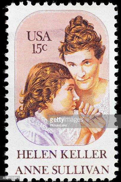 USA Helen Keller and Anne Sullivan postage stamp
