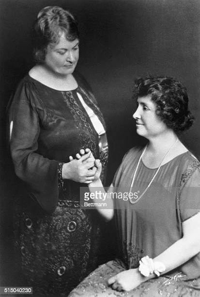 Helen Keller as she looked in the 1920's pictured here with 'Teacher' Anne Sullivan who arrived at the Keller home in 1887 and who assisted Miss...
