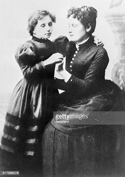 Helen Keller born blind and deaf but who became a wellknown and accomplished educator writer and orator in an 1892 portrait at the age of twelve with...