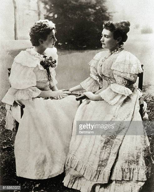 Helen Keller deaf and blind since age six communicates by touch with her teacher Anne Sullivan