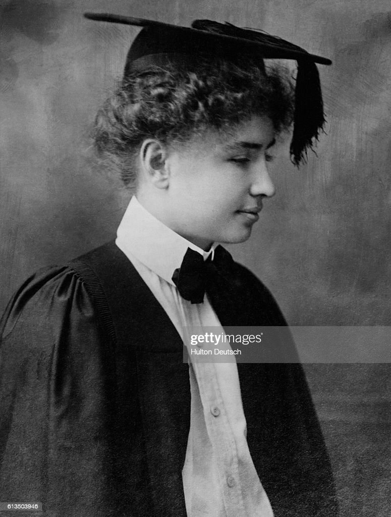 Helen Keller in cap and gown for her graduation from Radcliffe ...