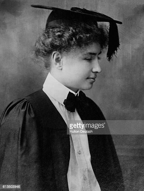 Helen Keller in cap and gown for her graduation from Radcliffe College Cambridge Mass 1904   Location Cambridge Mass United States
