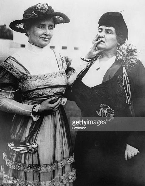 1915 Helen Keller stands with her teacher Anne Sullivan BPA2#760
