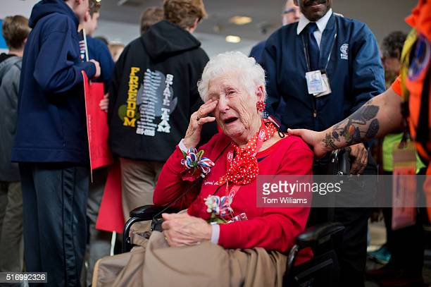 Helen Kushnir a Rosie the Riveter during World War II arrives with an Honor Flight from Detroit at Reagan National Airport for a tour of DC where the...