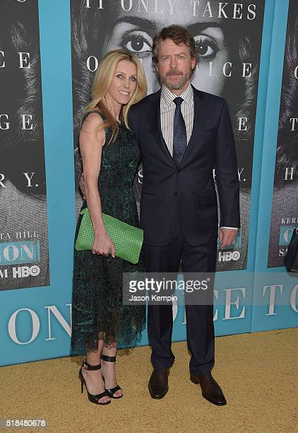 Helen Labdon and Greg Kinnear attend the premiere of HBO Films' Confirmation at Paramount Theater on the Paramount Studios lot on March 31 2016 in...