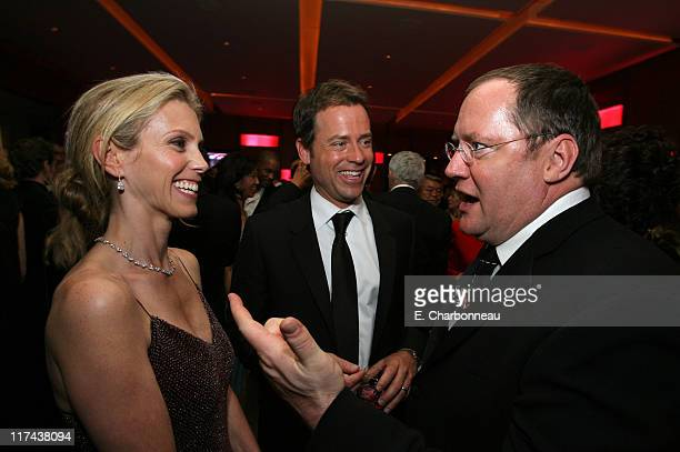Helen Labdon, Greg Kinnear and John Lasseter during 2007 Vanity Fair Oscar Party Hosted by Graydon Carter - Inside at Mortons in West Hollywood,...