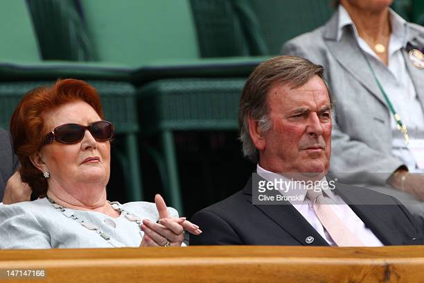 Helen Lady Wogan and Sir Terry Wogan watch the Ladies' Singles first round match between Petra Kvitova of the Czech Republic and Akgul Amanmuradova...