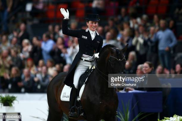 Helen Langehanenberg of Germany rides Damsey during the Dressage Competition Grand Prix Freestyle Final during the Gothenburg Horse Show 2019 during...