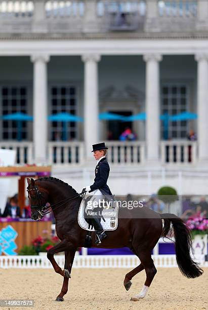 Helen Langehanenberg of Germany riding Damon Hill competes in the Team Dressage Grand Prix Special on Day 11 of the London 2012 Olympic Games at...