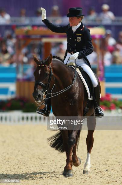 Helen Langehanenberg of Germany riding Damon Hill competes in the Individual Dressage on Day 13 of the London 2012 Olympic Games at Greenwich Park on...