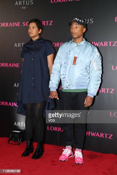 Helen Lasichanh and Pharrell Williams attend the celebrating party of The Jewelry of Lorraine Schwartz, 'Arts In All Its Forms' at Artus on March 24,...