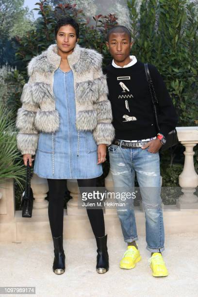 Helen Lasichanh and Pharrell Williams attend the Chanel Haute Couture Spring Summer 2019 show as part of Paris Fashion Week on January 22 2019 in...