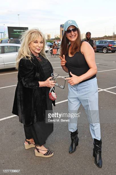 """Helen Lederer and Honey G attend the Drive-In World Premiere of """"Break"""" at Brent Cross Shopping Centre on July 22, 2020 in London, England."""