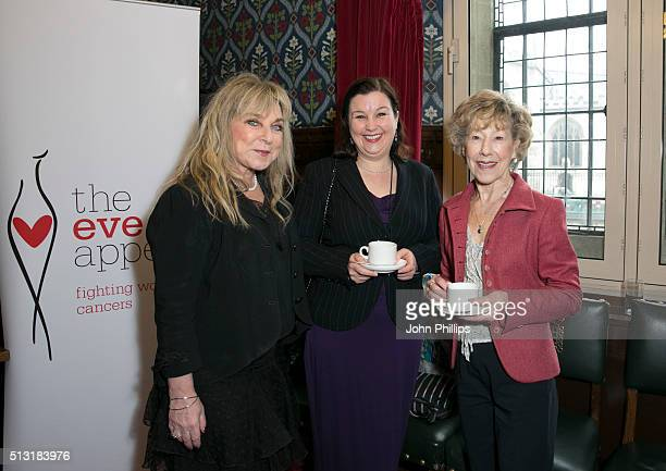 Helen Lederer Patti Clare and Josie Kidd attend The Eve Appeal afternoon tea party to mark the beginning of Ovarian Cancer Awareness Month at House...