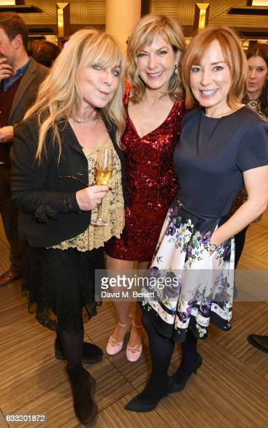 Helen Lederer, Penny Smith and Sian Williams attend the Costa Book Of The Year Award 2016 at Quaglino's on January 31, 2017 in London, United Kingdom.