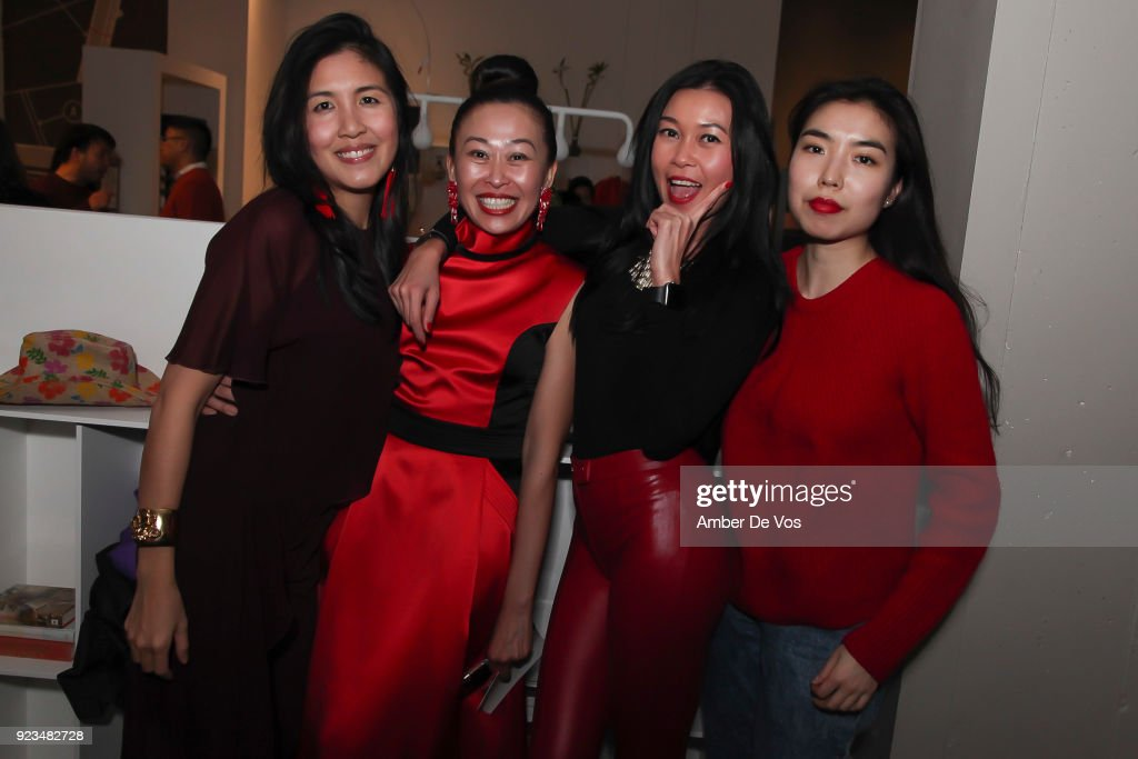 Helen Lee, Niki Cheng, Pettie Chong and Mindy Wu attend New York Chinese New Year Celebration at Calligaris SoHo on February 13, 2018 in New York City.