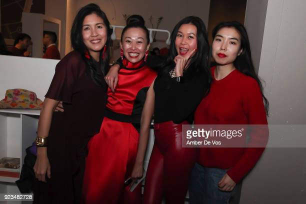 Helen Lee, Niki Cheng, Pettie Chong and Mindy Wu attend New York Chinese New Year Celebration at Calligaris SoHo on February 13, 2018 in New York...