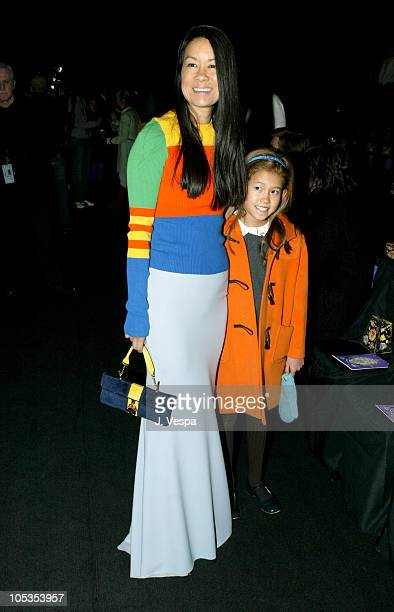 Helen Lee Schifter and daughter during Olympus Fashion Week Fall 2004 - Anna Sui - Front Row and Backstage at The Tent at Bryant Park in New York...