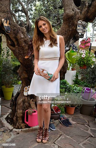 Helen Lindes presents the new collection of shoes by 'Merkal' on April 16 2015 in Madrid Spain