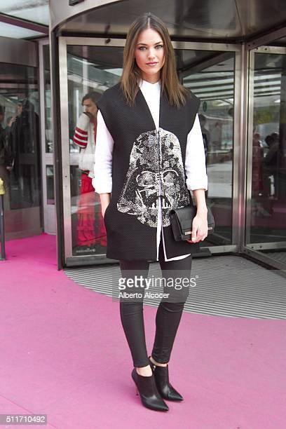 Helen Lindes wears Guess boots Guess Handbag Alvarno pants Alvarano Jacket and Alvarno shirt during Mercedes Benz Fashion Week at Ifema on February...
