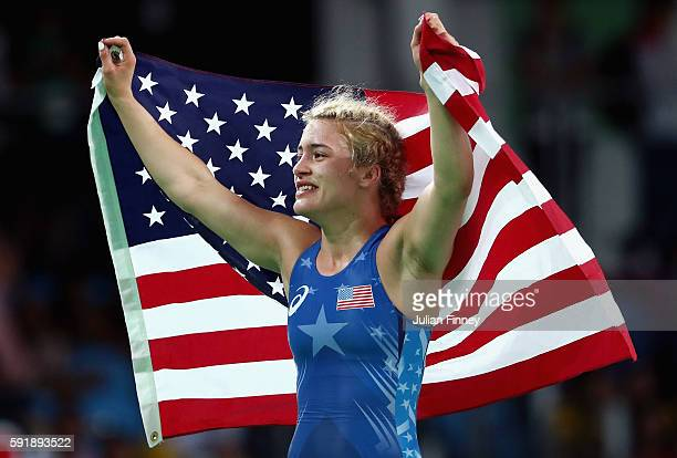Helen Louise Maroulis of the United States celebrates after defeating Saori Yoshida of Japan during the Women's Freestyle 53 kg Gold medal match on...