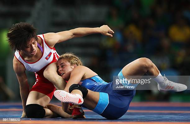Helen Louise Maroulis of the United States competes against Myong Suk Jong of Republic of Korea during the Women's Freestyle 53 kg Quarterfinals on...