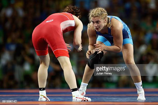 Helen Louise Maroulis of the United States competes against Saori Yoshida of Japan during the Women's Freestyle 53 kg Gold medal match on Day 13 of...
