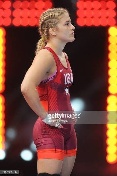 Helen Louise Maroulis of USA during the female 58 kg wrestling competition of the Paris 2017 Women's World Championships at AccorHotels Arena on...